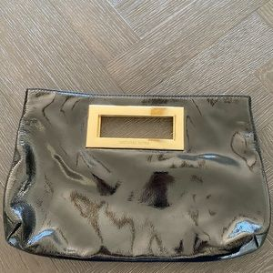 Michael Kors Patent Leather Black and Gold Clutch